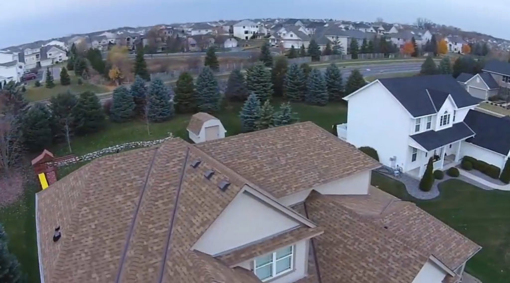 aerial view of home roof shingles